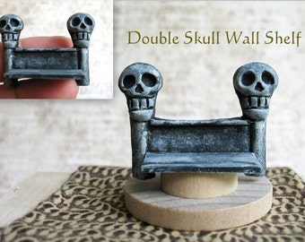 Haunted - Double Skull Wall Shelf  - for Witch, Wizard or Fairy - 1/12th scale Handmade miniature
