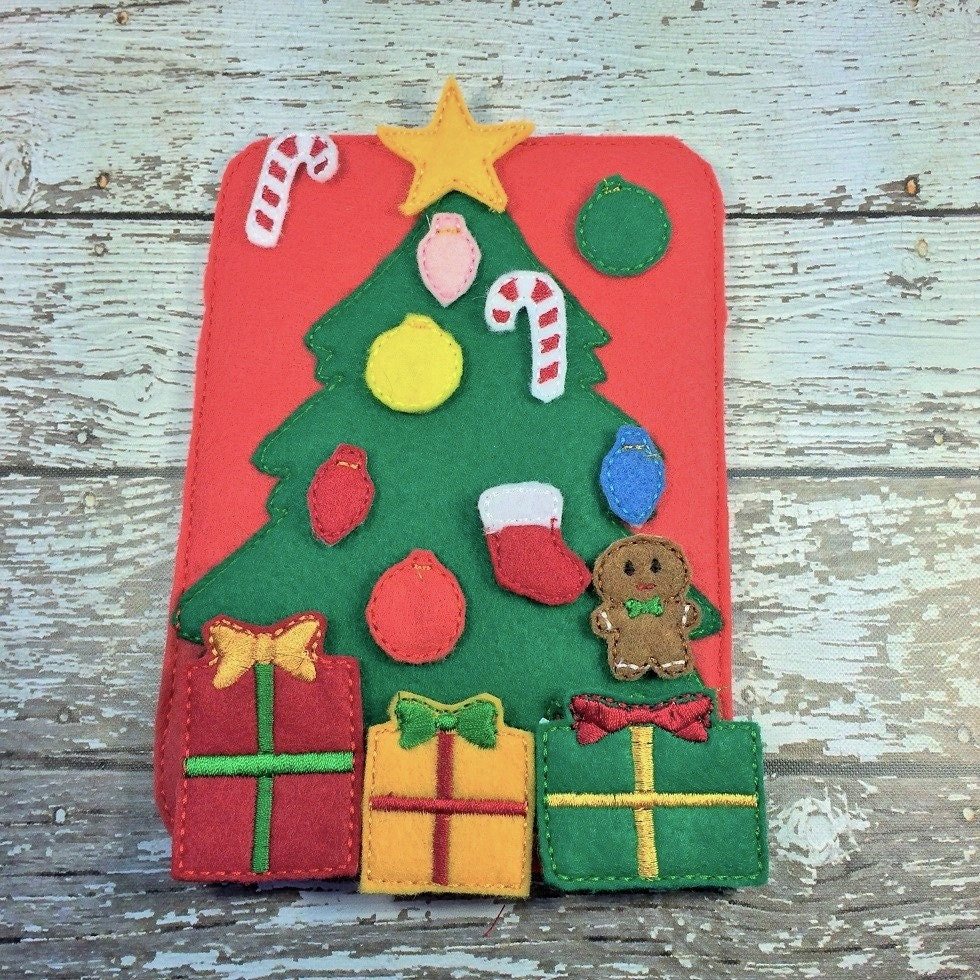 christmas tree quiet book page quiet game busy bag felt board flannel board toddler and preschool toy