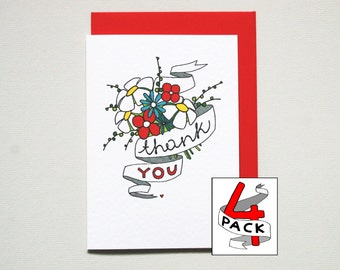 Thank You Cards set of 4 * Thank You notes * pack of 4 * four pack * thank you * friend * wedding * 4 A6 cards with poppy red envelopes