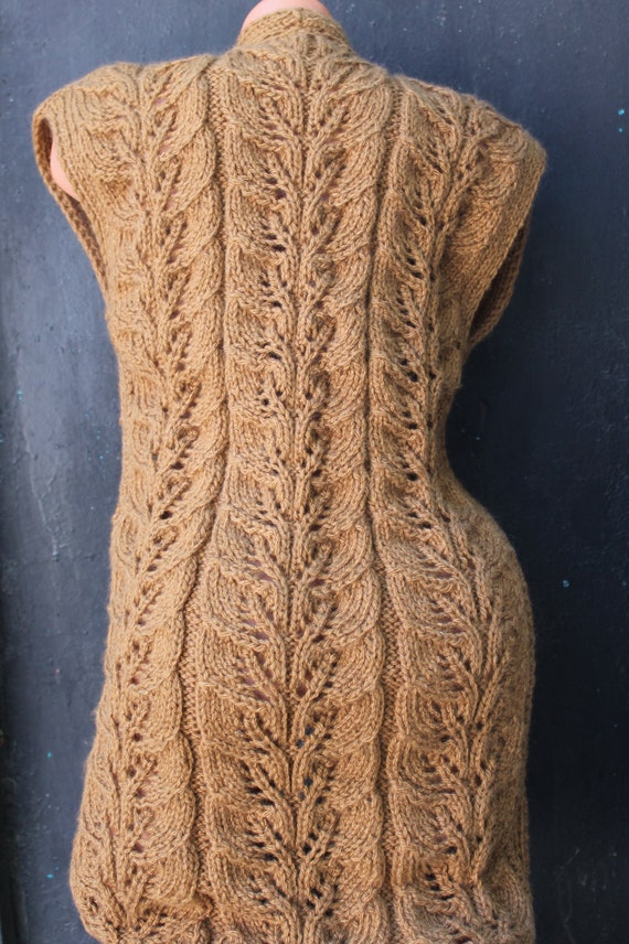 Lace Waistcoat Knitting Pattern : Big size Hand Knit Vest Sweater Lace Pattern Cable vest ...