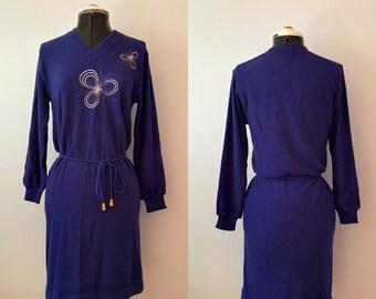Vintage Knit Dress / Vintage sweater dress / Vintage Embroidered dress / Vintage Japanese Dress / Retro Dress size small