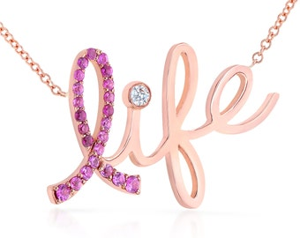 """Limited Edition - 14k Rose Gold Pink Sapphire & Diamond """"Life"""" Necklace - Breast cancer awareness"""