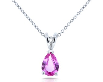 Limited Edition -  14K White Gold Pear Shaped Pink Sapphire Solitaire Necklace