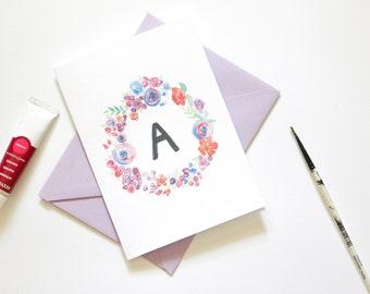 Blank Greeting Card - Floral Monogram Wreath