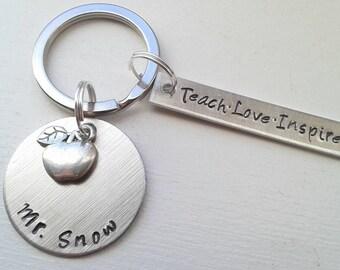 Hand Stamped Custom Teacher Keychain With Teach Love Inspire, Name and Apple Charm - Teacher Gift - Name Keychain - Educator Keychain