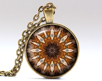 New age jewelry Mandala necklace Hippie pendant OWA594