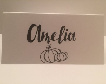 Set of 8 Thanksgiving Fall Personalized Place Cards