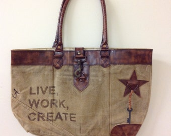 Recycled material canvas tote