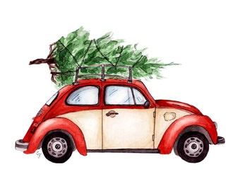 Christmas VW Bug, Original Art Print