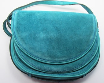 Quality Vintage 1960s Italian Teal Suede and Leather Handbag