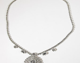 Vintage 1950s Rhodium Plated Clear Rhinestone Necklace