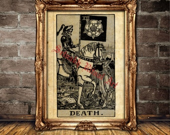 Death Tarot card poster, magick, witch, fortune-teller, occult poster, Tarot reading, mystic, magic art, esoteric home decor #396.13