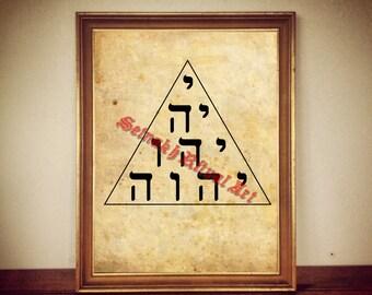 Tetraklys print, tetragrammaton illustration, occult symbol, esoteric art, Gematria , Kabbalistic diagram, Cabala #302
