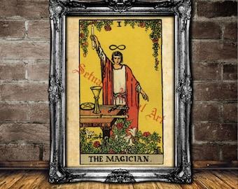 The Magician Tarot art, Tarot print, magick, fortune-teller, occult poster, Tarot reading, mystic, magic art, esoteric home decor #396.1