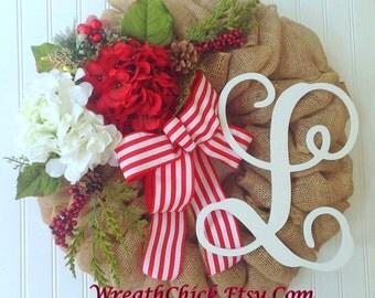 Holiday wreath, Burlap wreath, Christmas wreath, burlap wreaths, winter wreath, initial wreath, wreath with initial, holiday door wreath