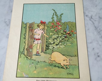An original 1929 colour illustration/lithograph 'Two Little Tresspassers' by F.M.G.