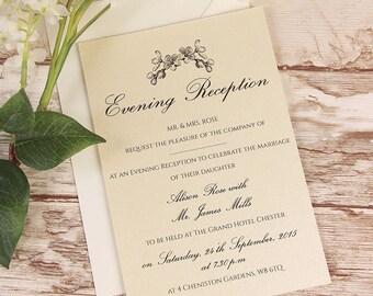 Black Lace Rustic Evening Wedding Invitation