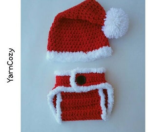 Baby Santa Hat, Newborn Santa Costume, Babys First Christmas Outfit, Christmas Hat, Crochet Santa Hat, Baby Boy Photo Outfit, New Baby Gift