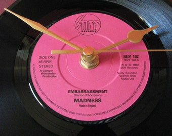 "Madness embarrassment   7"" vinyl record clock"