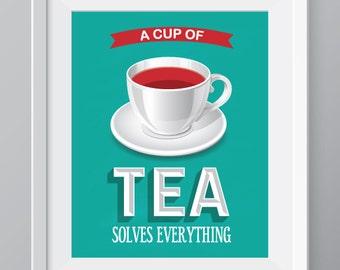 Tea kitchen wall art, kitchen decor,tea print, tea cup decor, tea poster, retro poster, kitchen art, tea cup kitchen decor, tea quote art