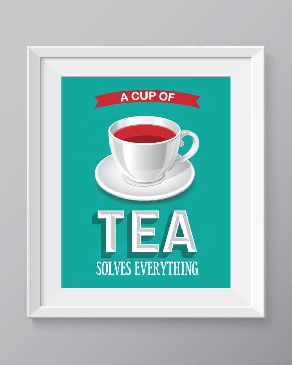 Tea Kitchen Wall Art Kitchen Decortea Print Tea Cup Decor