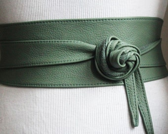 Green Leather Obi Belt | Waist Cincher Belt | Corset Leather Belt| Plus Size Belt | Wrap Belt