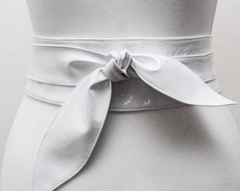 White Patent Leather Tulip Tie Obi Belt | white Leather Obi Belt| White Leather belt | Real Leather Belt| Handmade Belt | Plus size belts