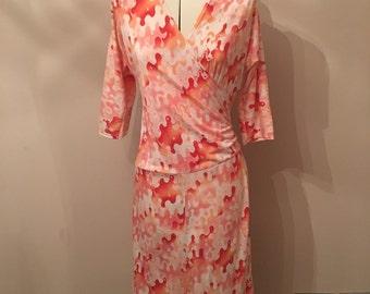 Vintage Pink Patterned Wrap Dress