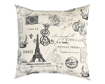 Black Designer Pillow Cover.Eiffel Tower Pillows.Black Euro Sham.French Throw Pillows.French Toss Pillows.French Accent Pillow