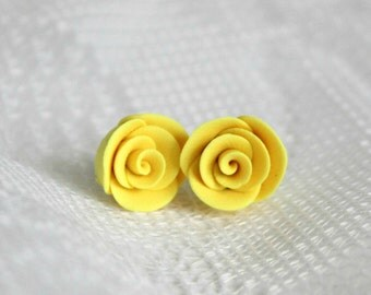 25% OFF! Yellow Rose Polymer Clay Earrings
