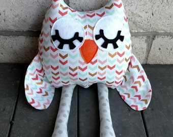 Stuffed Owl Toy, Plush Owl, Chevron Pattern Owl