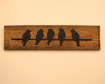 "Birds on a Wire Silhouette on Barn Wood 8"" x 24"""