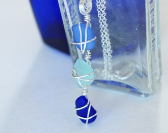 Trio of Blue and Silver Sea Glass Necklace