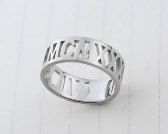 Personalized Roman Numeral Ring,Cut out Date Ring,Custom Wedding Date Ring,Birth Date Ring,Anniversary Date Ring R019