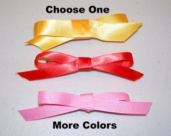 Ribbon Bow Barrettes, Choose One on a French Barrette or Alligator Clip