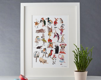 Alice in Wonderland Character Print A4