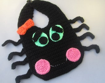Baby's First Halloween Handmade Crocheted Happy Spider Bib