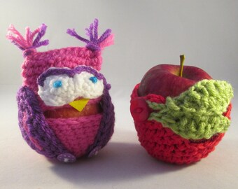 Handmade Crocheted Apple and Owl Apple Cozies/ Teacher's Gifts/ Back To School Gifts
