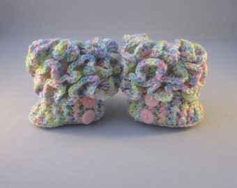 Pastel Ruffle Handmade Crocheted Baby Boots/ Baby Shower Gift/Crocheted Baby Booties/Crocheted Baby Boots/ Baby Boots/Baby Ruffle Boots