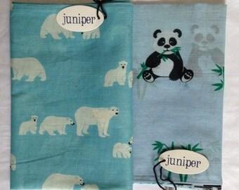 Women's panda bear and polar bear scarves in 100% cotton