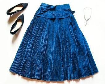 80s Blue Pleat Skirt | Vintage Skirt | Heavy Alpine Skirt | Waist Band | Maxi Skirt | Blue Skirt - Size Medium