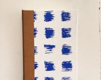 Blue brushstrokes  journal, Leather Binding, Medium, Blank