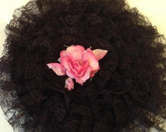 Vintage Taffeta and Lace Curler Cap