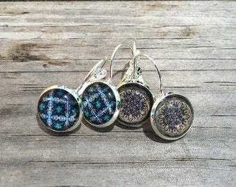 Blue Mandala Earrings, Patterned Earrings, Leverback Earrings, Set of 2 earrings, cabochon earrings, Gifts for her