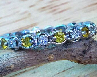 Vintage Style Yellow Sapphire And Diamond Band