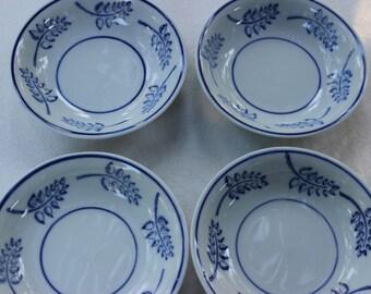 Vintage IDG China Set of 4 Blue and White Bowls