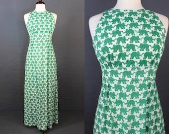 70's Maxi Dress.....70's Elephant Print Poly Maxi Dress