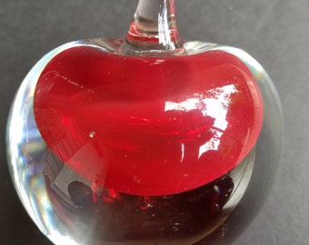 Murano Red and Clear Glass Apple Paperweight
