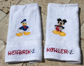 Donald Duck and Mickey Mouse Hand Towels NAMES INCLUDED
