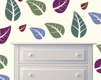 Leaf Wall Decal Stickers  - 1 to 19 inches high Bedroom Nursery Wall Large Wall Art